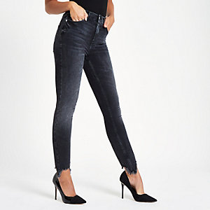 Harper - Zwarte superskinny jeans met ripped zoom