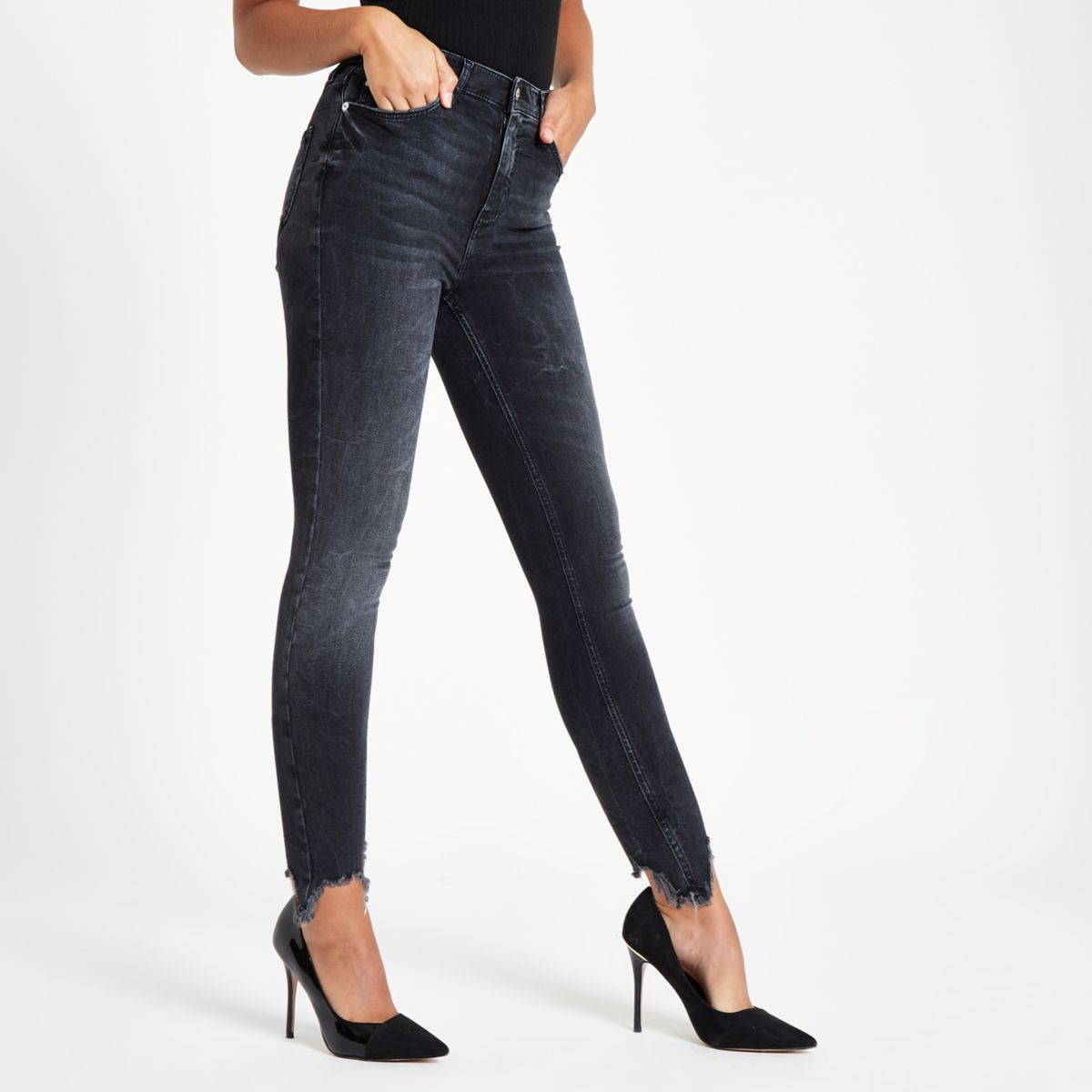 Black Harper Super Skinny Ripped Hem Jeans by River Island