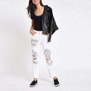 Weiße Boyfriend Jeans im Used Look