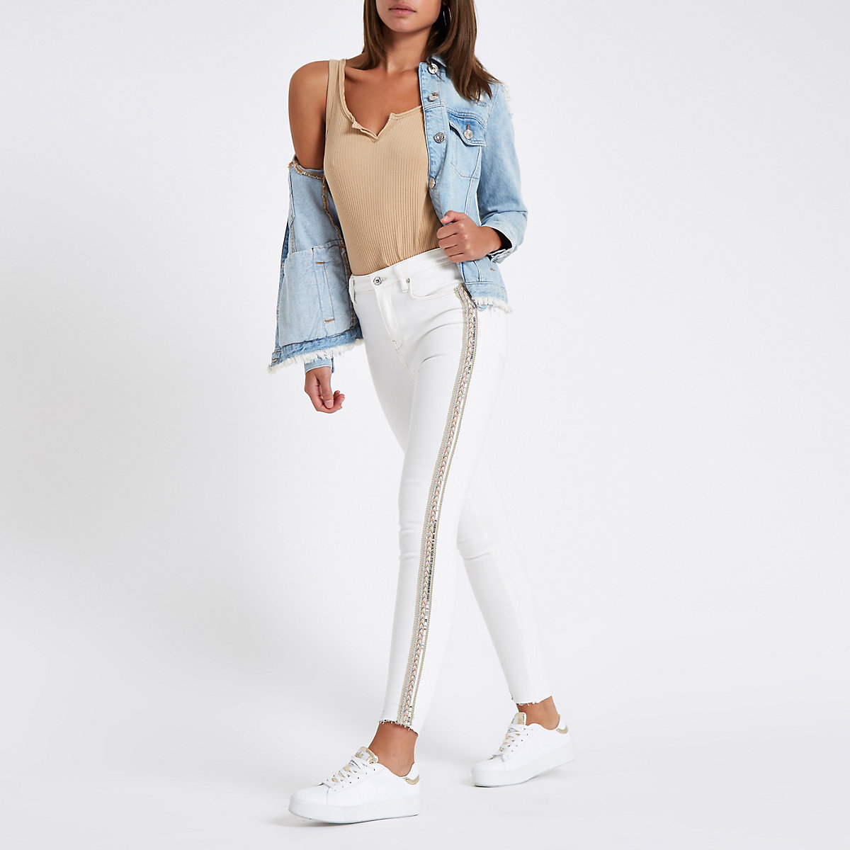 White Harper sequin detail super skinny jeans