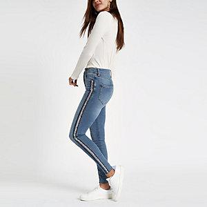 Harper - Middenblauwe skinny jeans met pailletten