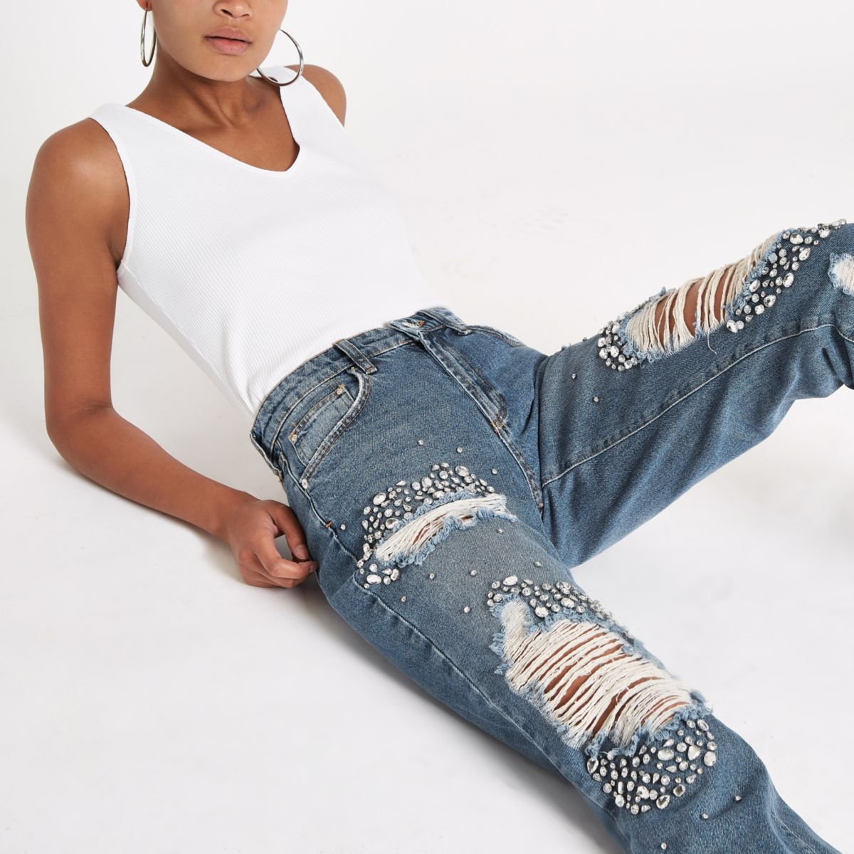 Mid blue embellished ripped boyfriend jeans