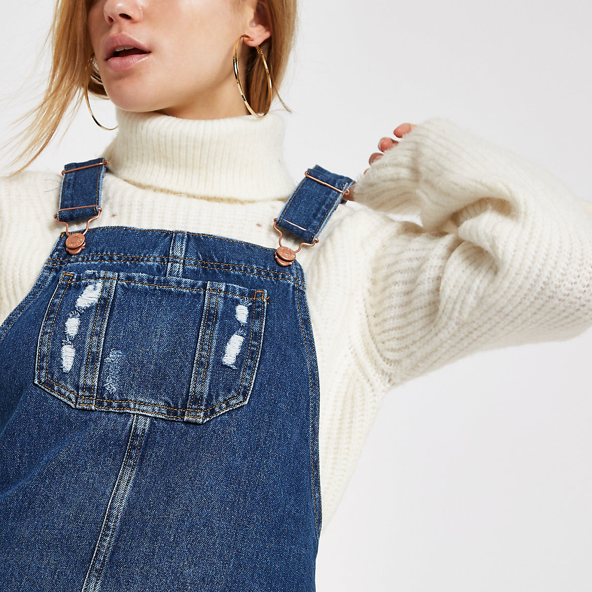 Blue frayed hem denim dungaree dress