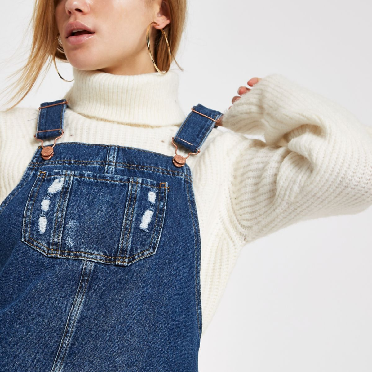 Blue frayed hem denim overall dress