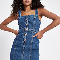 Mid blue fitted button through denim dress