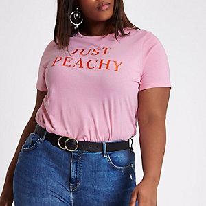 Plus pink 'just peachy' boyfriend T-shirt