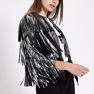 Silver faux suede fringe jacket