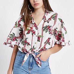 Cream parrot print tie front crop top