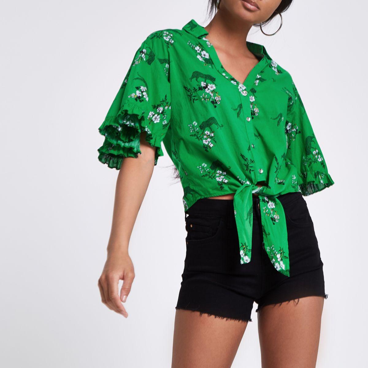 Green floral leopard print tie front crop top