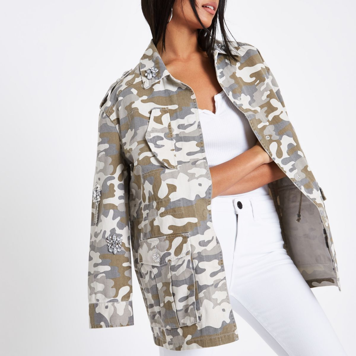 d6e0977d1440d Shoptagr | Green Camo Embellished Army Jacket by River Island