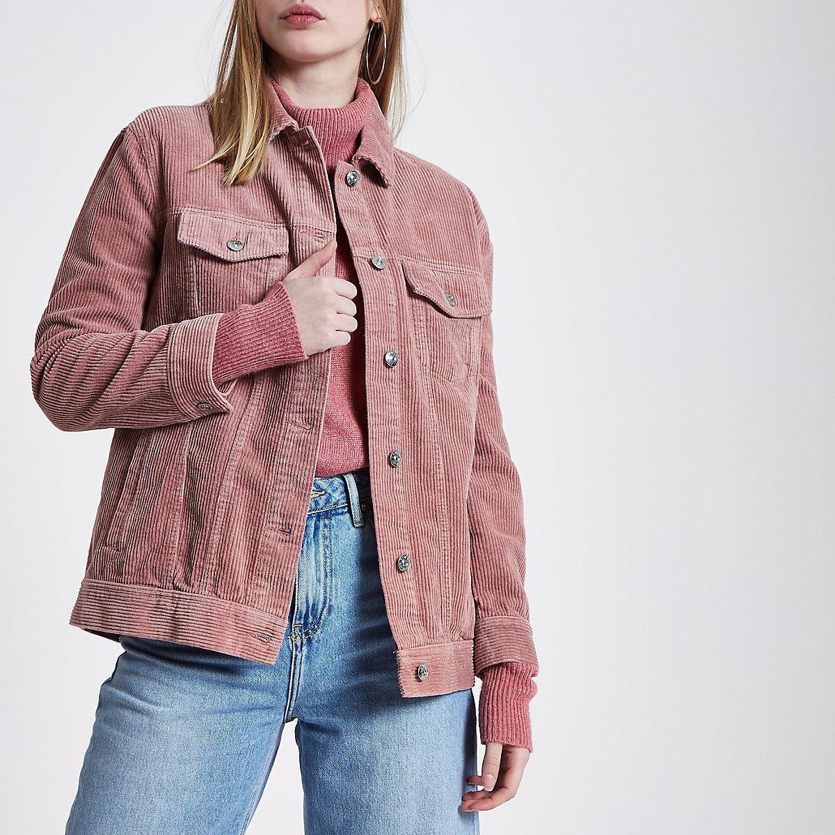 Pink cord trucker jacket