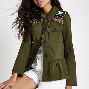 Khaki embellished peplum army jacket