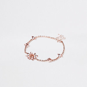 Bracelet de cheville façon or rose à strass