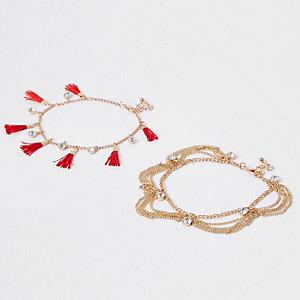 Lot de bracelets dorés à strass et pampille