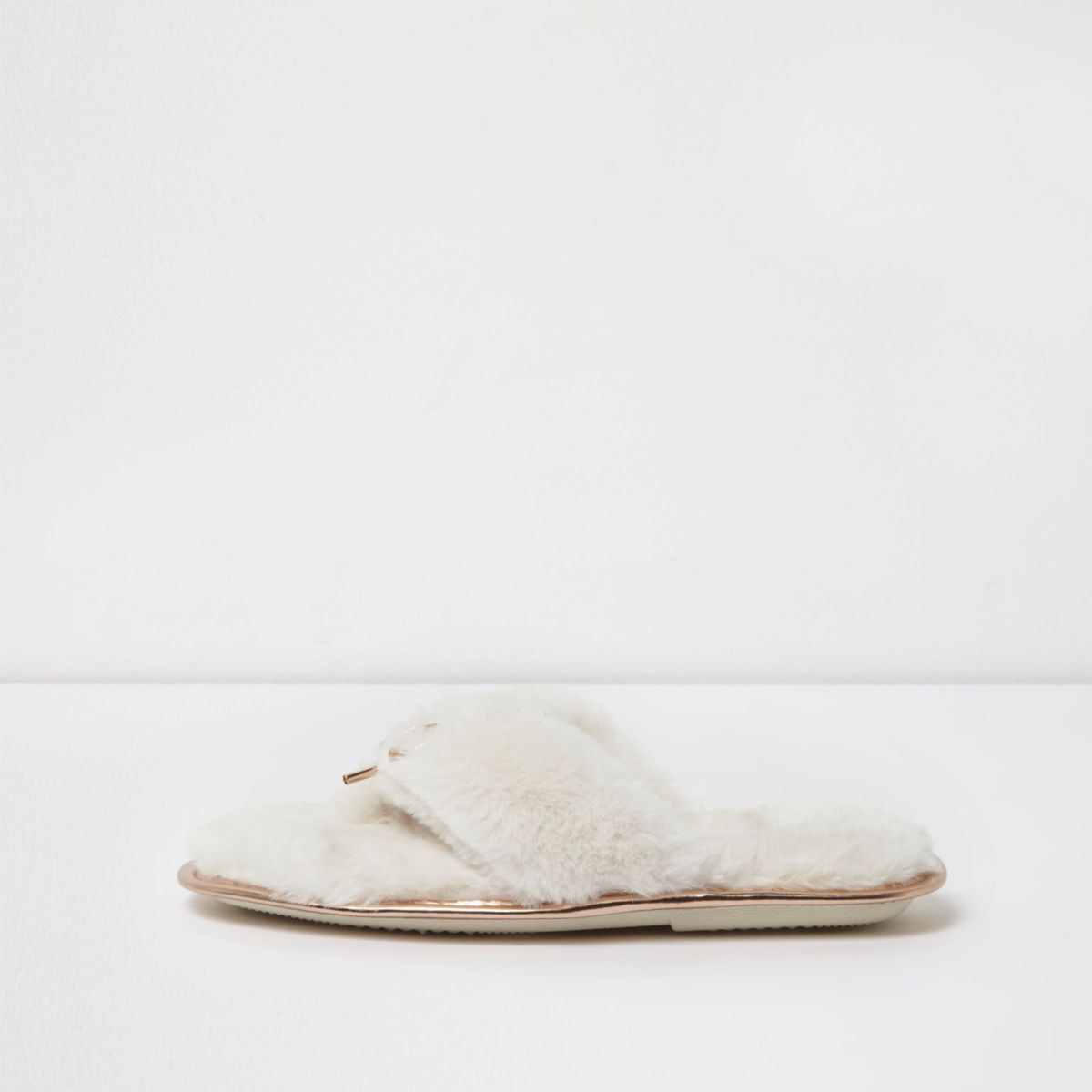 River Island Womens Cream faux fur flip flop slippers
