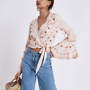 Pink embroidered crop wrap top