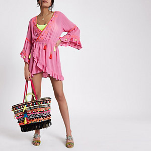 Pink tassel embroidered smock top