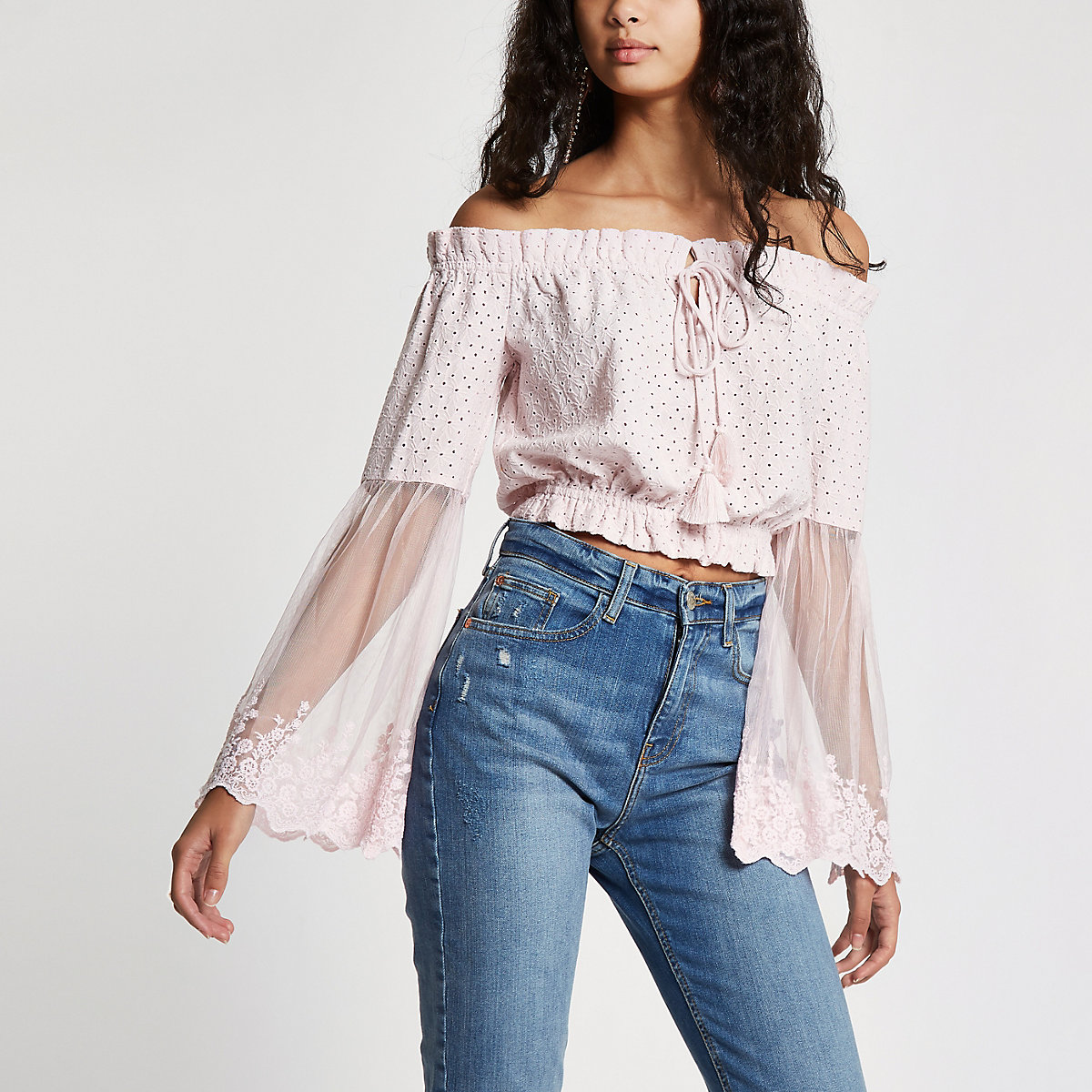 Light pink broderie bardot crop top