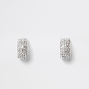 Silver tone rhinestone pave small hoop earrings