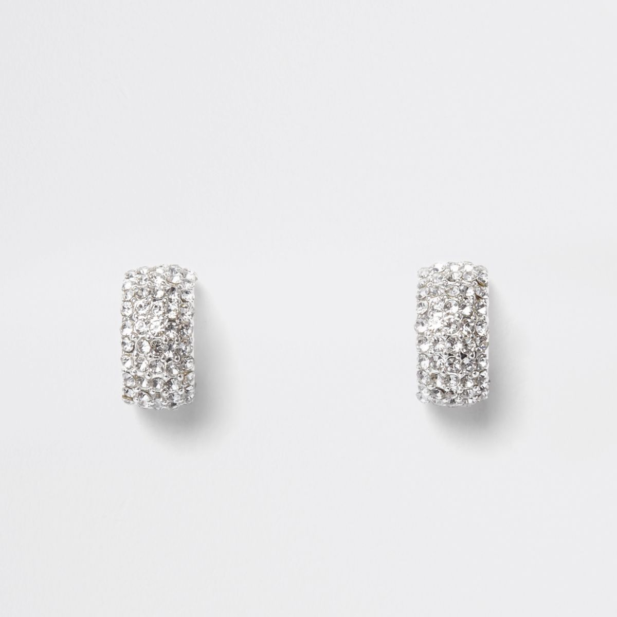 Silver tone diamante pave small hoop earrings