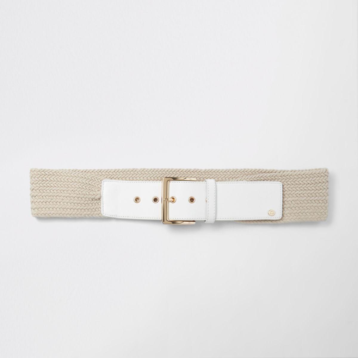 White woven rope waist belt