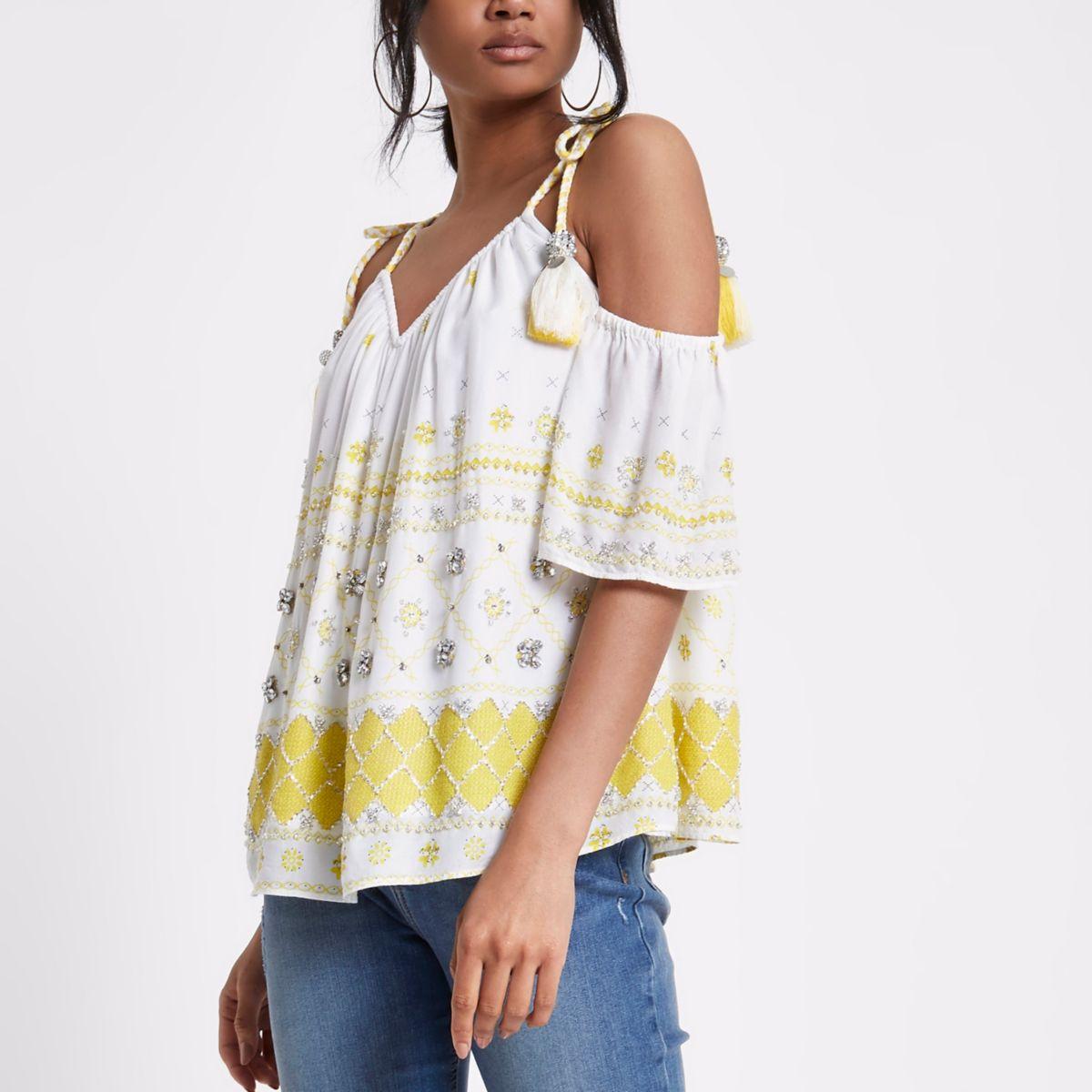 Yellow embellished tassel cold shoulder top