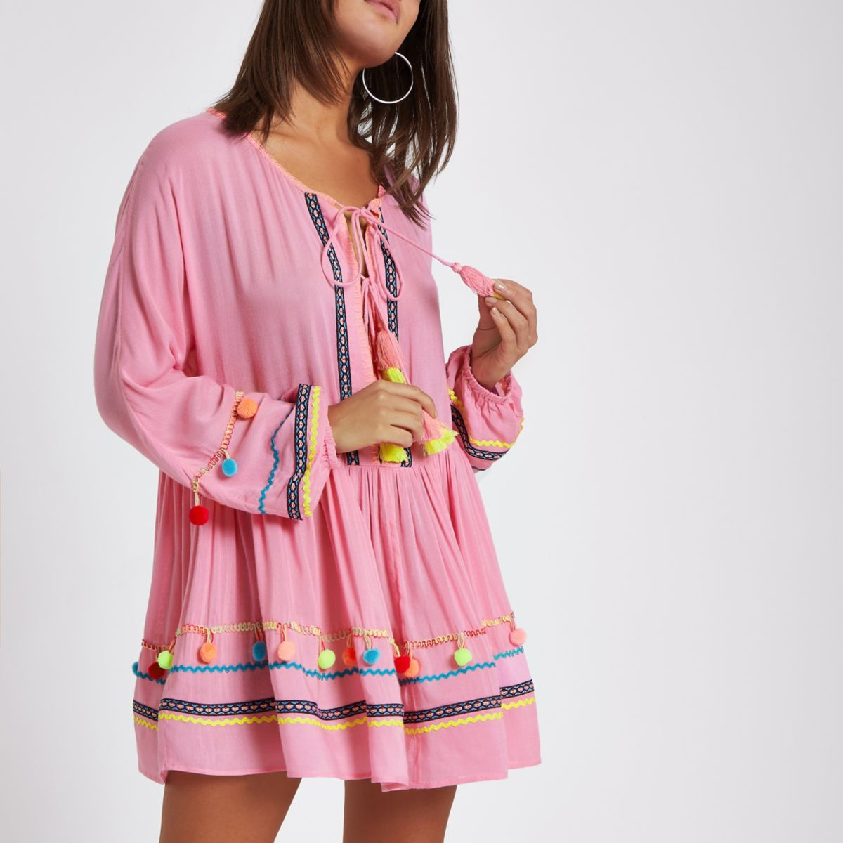 Pink pom pom oversized beach cover up