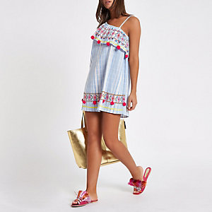 Blue stripe one shoulder pom pom beach dress