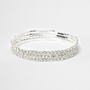 Silver tone rhinestone anklet