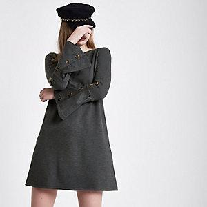 Dark grey button bell sleeve shift dress