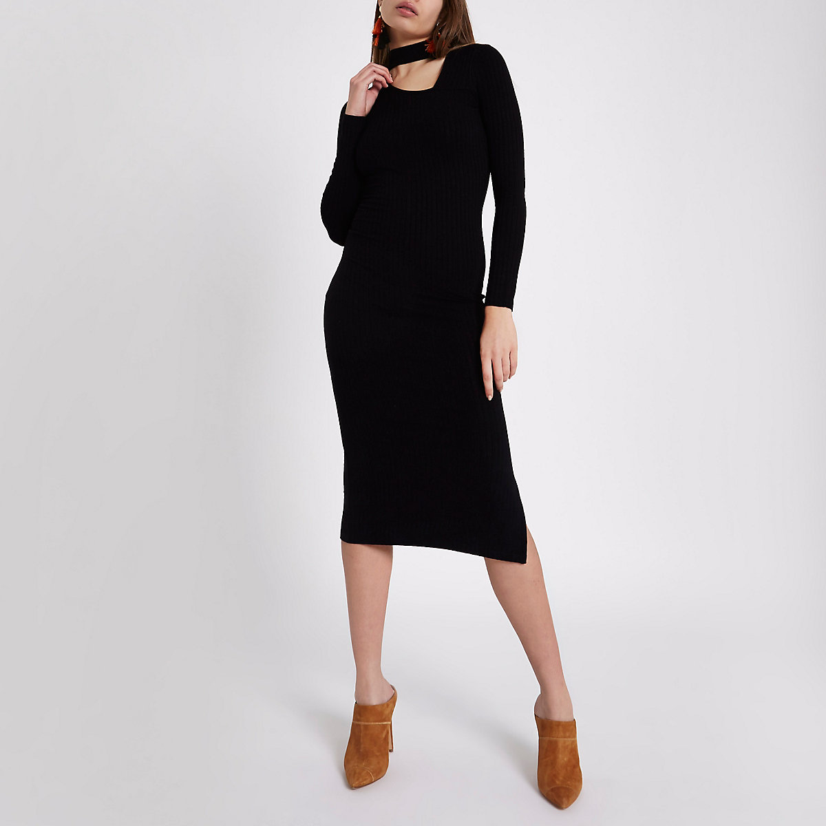 Black rib long sleeve choker midi dress