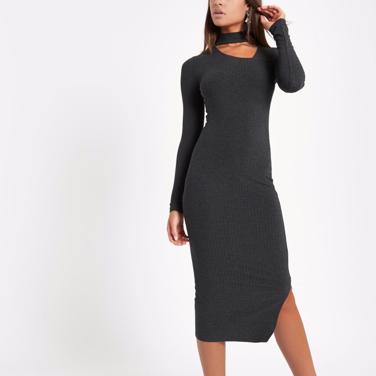 Dark grey rib choker bodycon midi dress