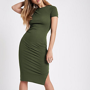 Dark green ruched short sleeve midi dress