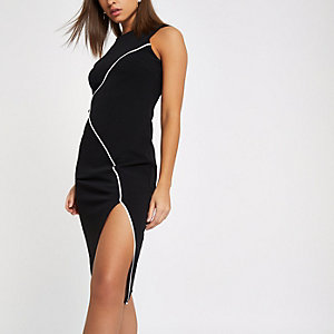Black contrast trim bodycon midi dress