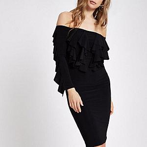 Robe moulante Bardot noire avec manches à volants