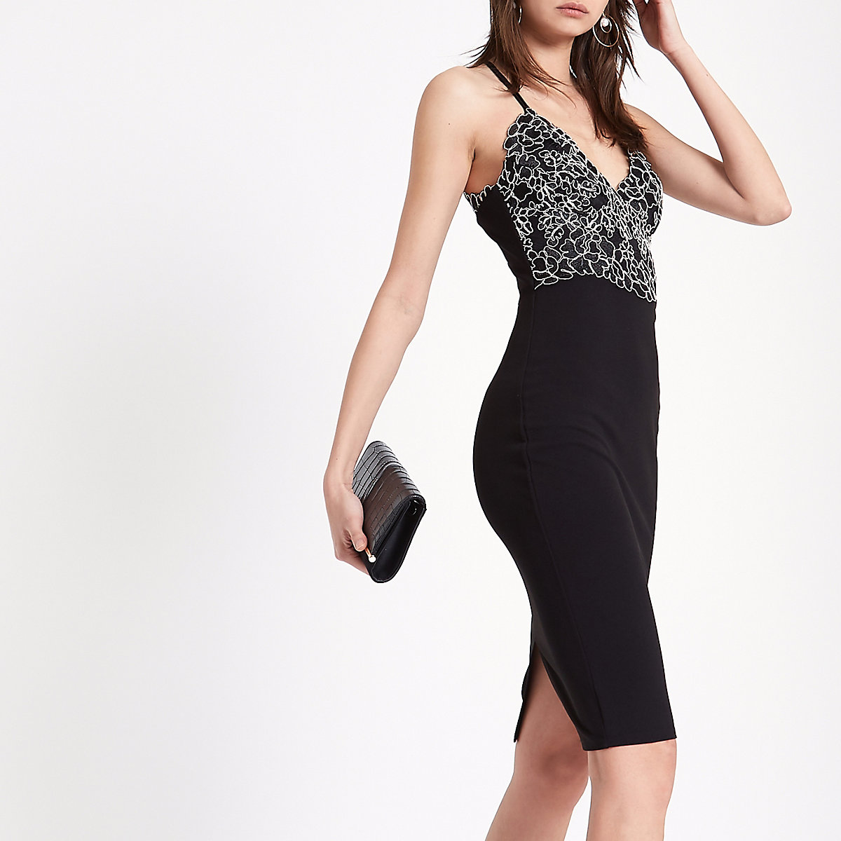 Black lace cami midi bodycon dress