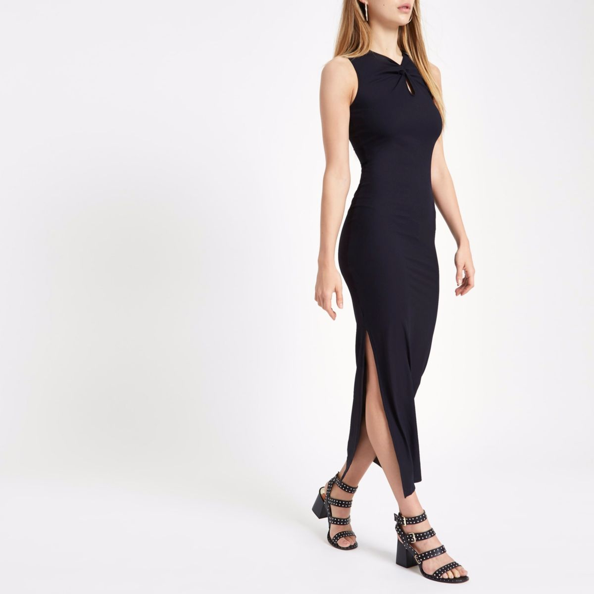 Zwarte mouwloze maxi-jurk met knoop voor