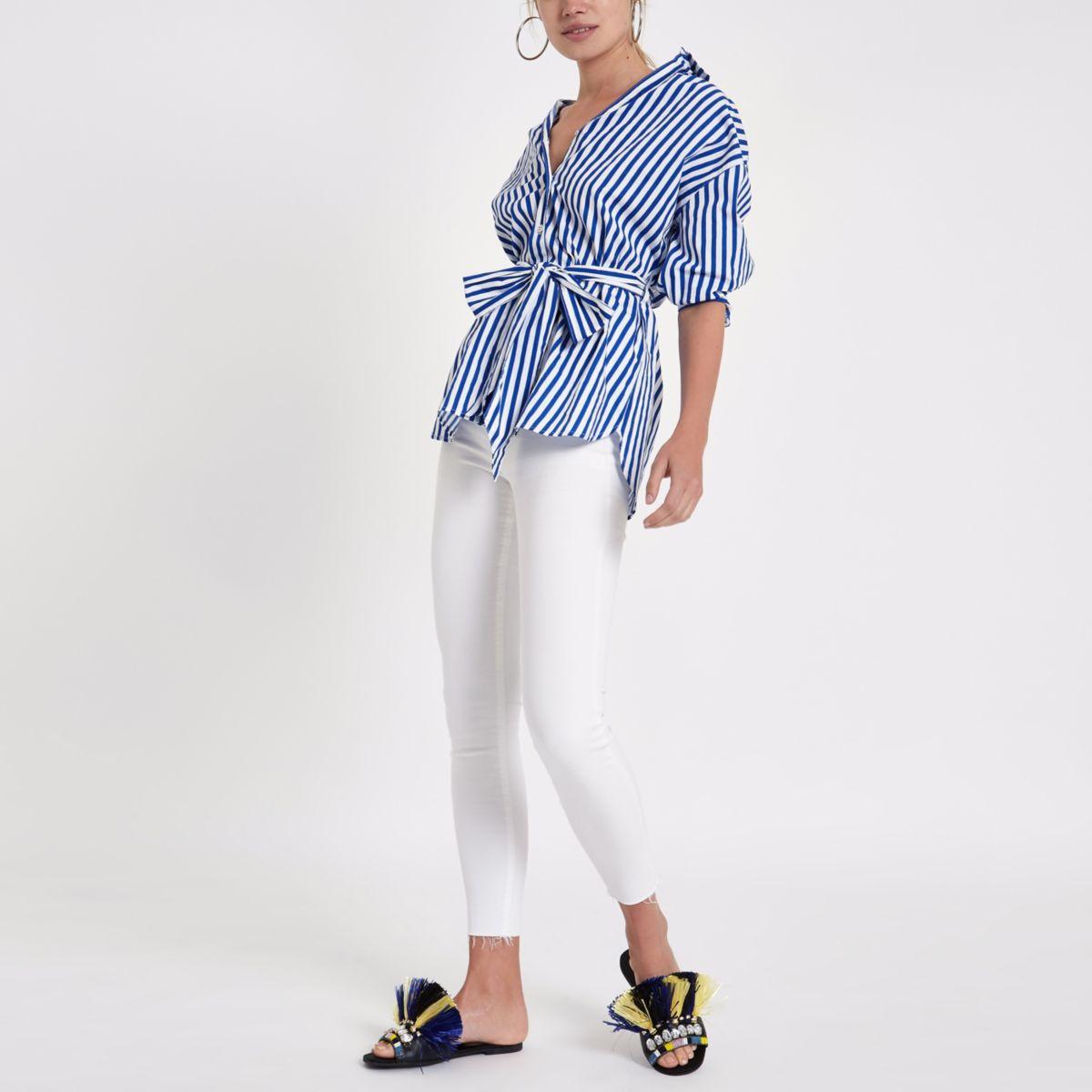 Blue stripe print tie waist shirt