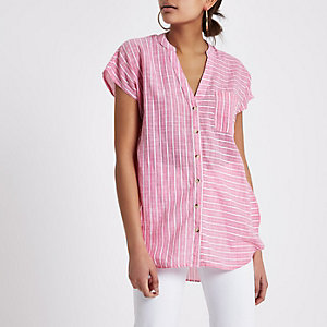 Pink stripe short sleeve loose fit shirt