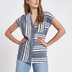 Blauw gestreept overhemd met korte mouw