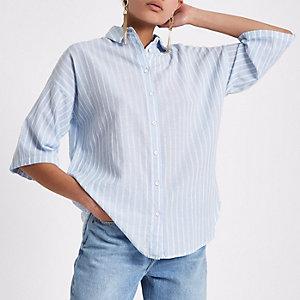 Blauw gestreept oversized overhemd met korte mouwen