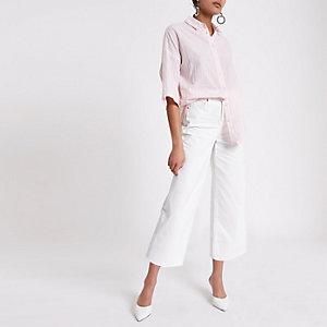 Roze gestreept oversized overhemd met korte mouwen