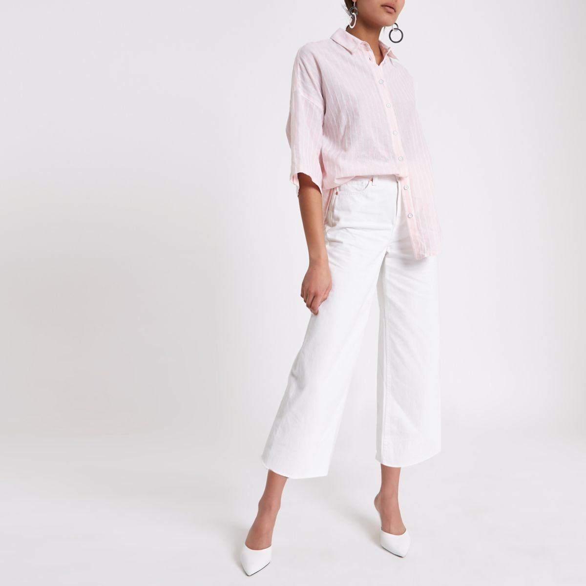 Pink stripe oversized short sleeve shirt