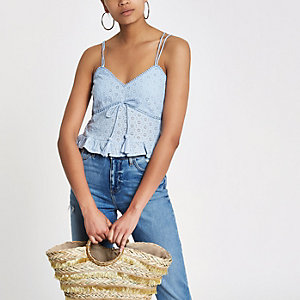 Blue embroidered tassel cami top