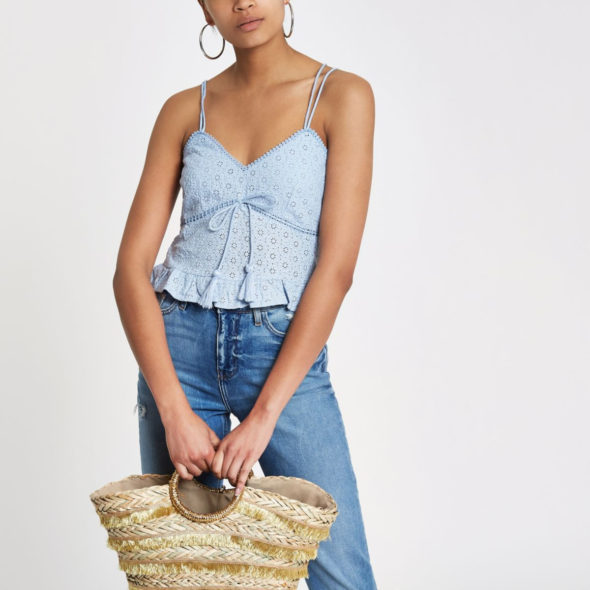 Blue broderie cami top