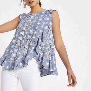 Light blue broderie frill sleeveless top