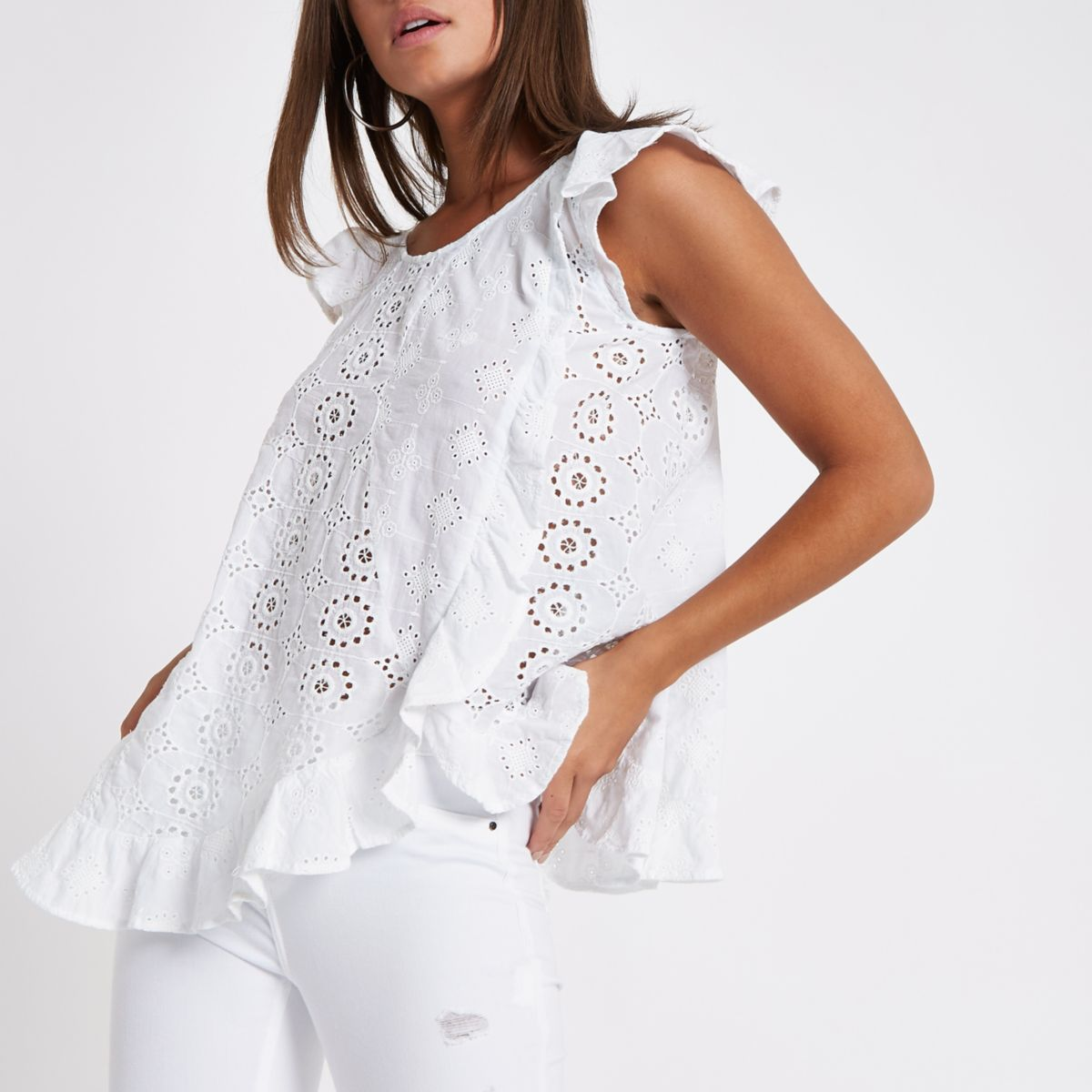 White embroidered frill top