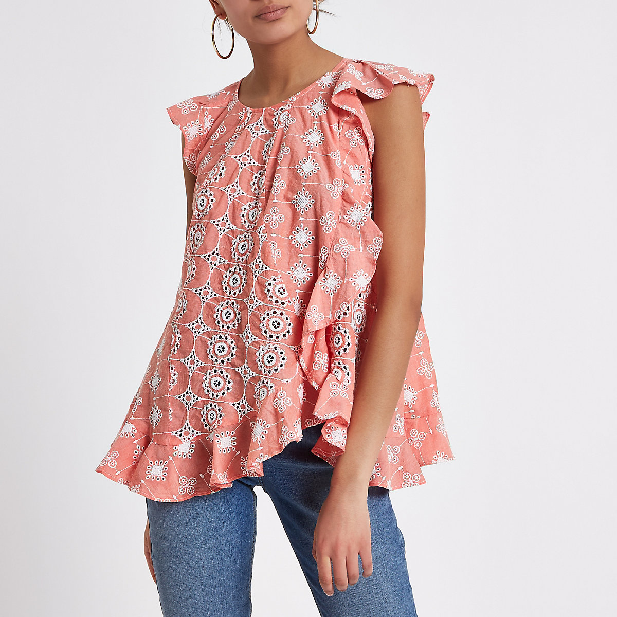 Orange embroidered frill top