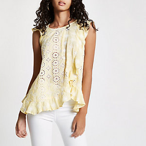 Yellow embroidered frill top