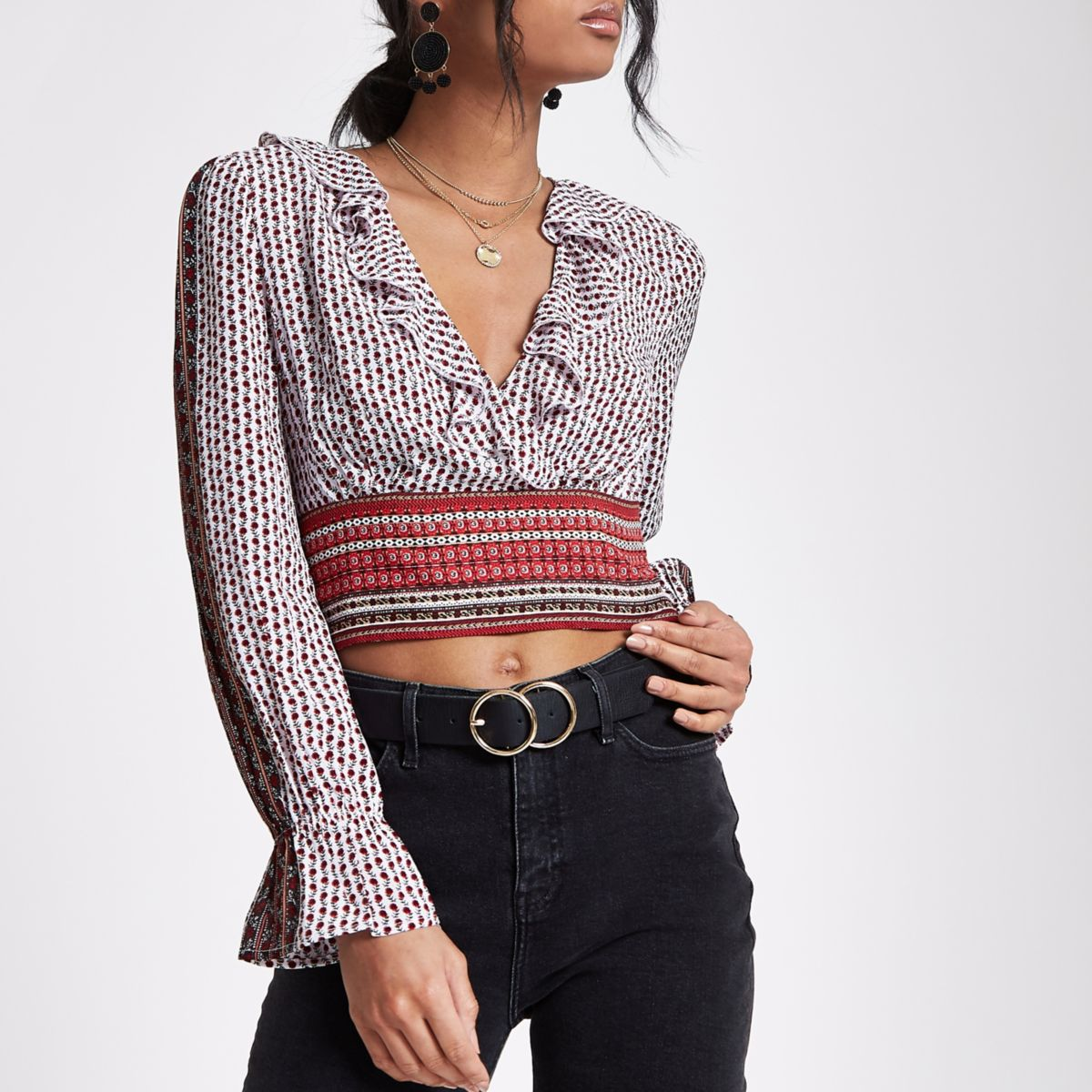 Red mixed print wrap crop top